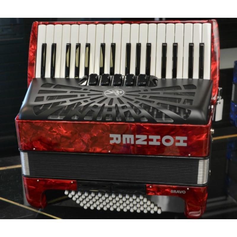 Hohner Bravo III 72 Bass Piano Accordion Red