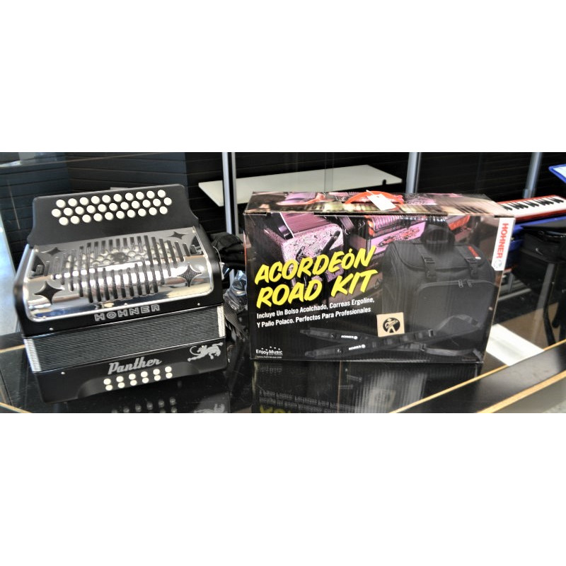 Hohner Panther 3 Row Button Accordion With Road Case Pack