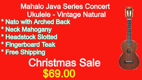 Mahalo Java Series Concert Ukulele Vintage Natural