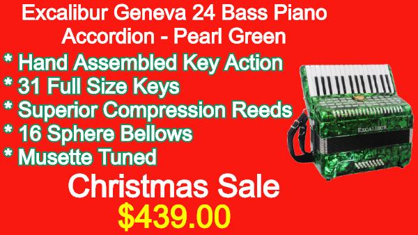 Excalibur Geneva 24 Bass Piano Accordion Pearl Green