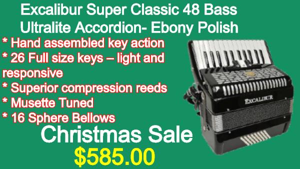 Excalibur Super Classic 48 Bass Ultralite Accordion Ebony Polish