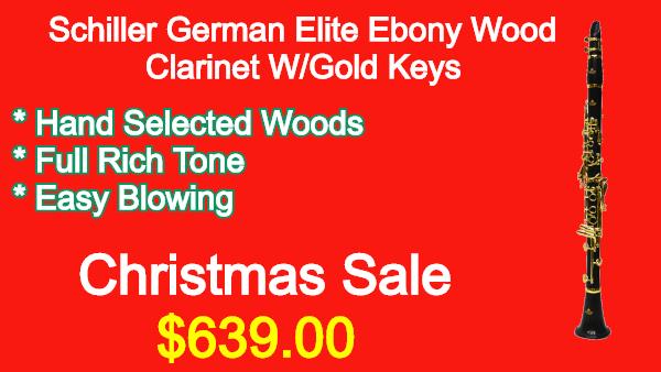 Schiller German Elite Ebony Wood Clarinet W_Gold Keys