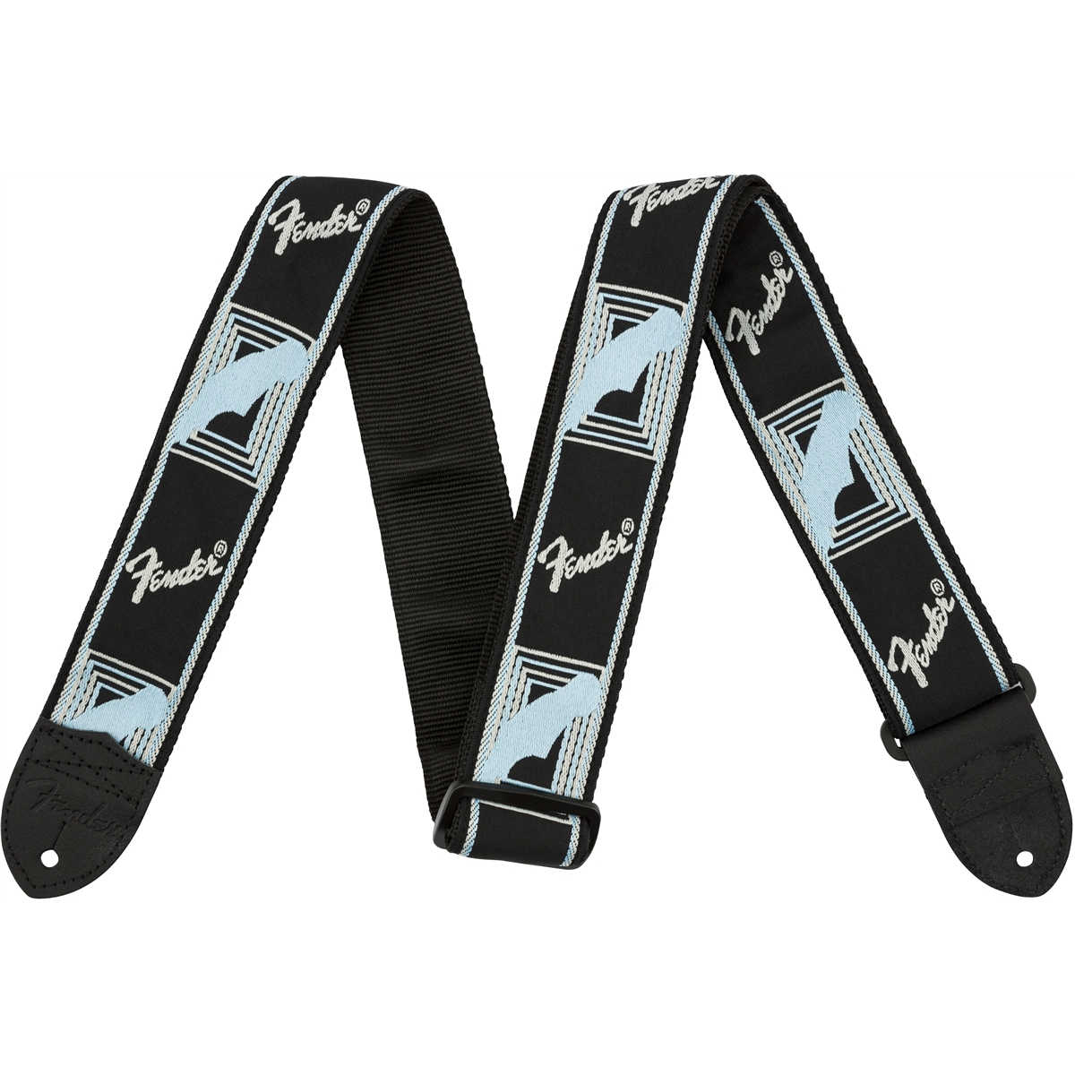 "Fender® 2"" Monogrammed Straps, Black/Light Grey/Blue"