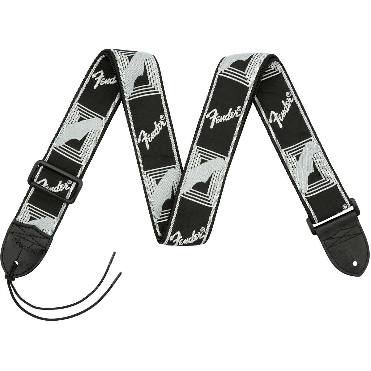 "Fender® 2"" Monogrammed Straps, Black/Light Grey/Dark Grey"