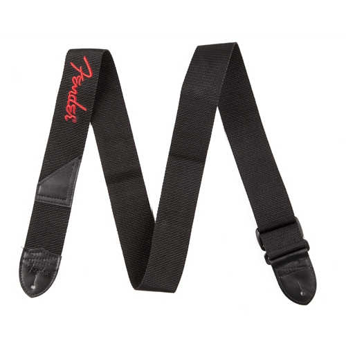 Fender® Black Polyster Logo Straps, Black with Red Logo