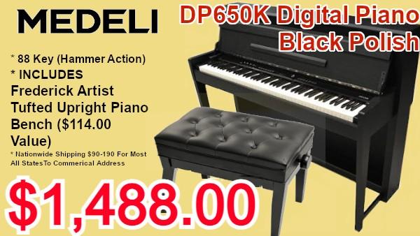 Medeli dp650k digital piano black polish on sale