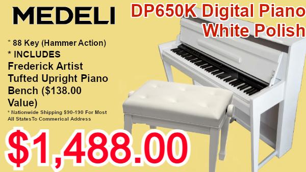 Medeli dp650k digital piano white polish on sale