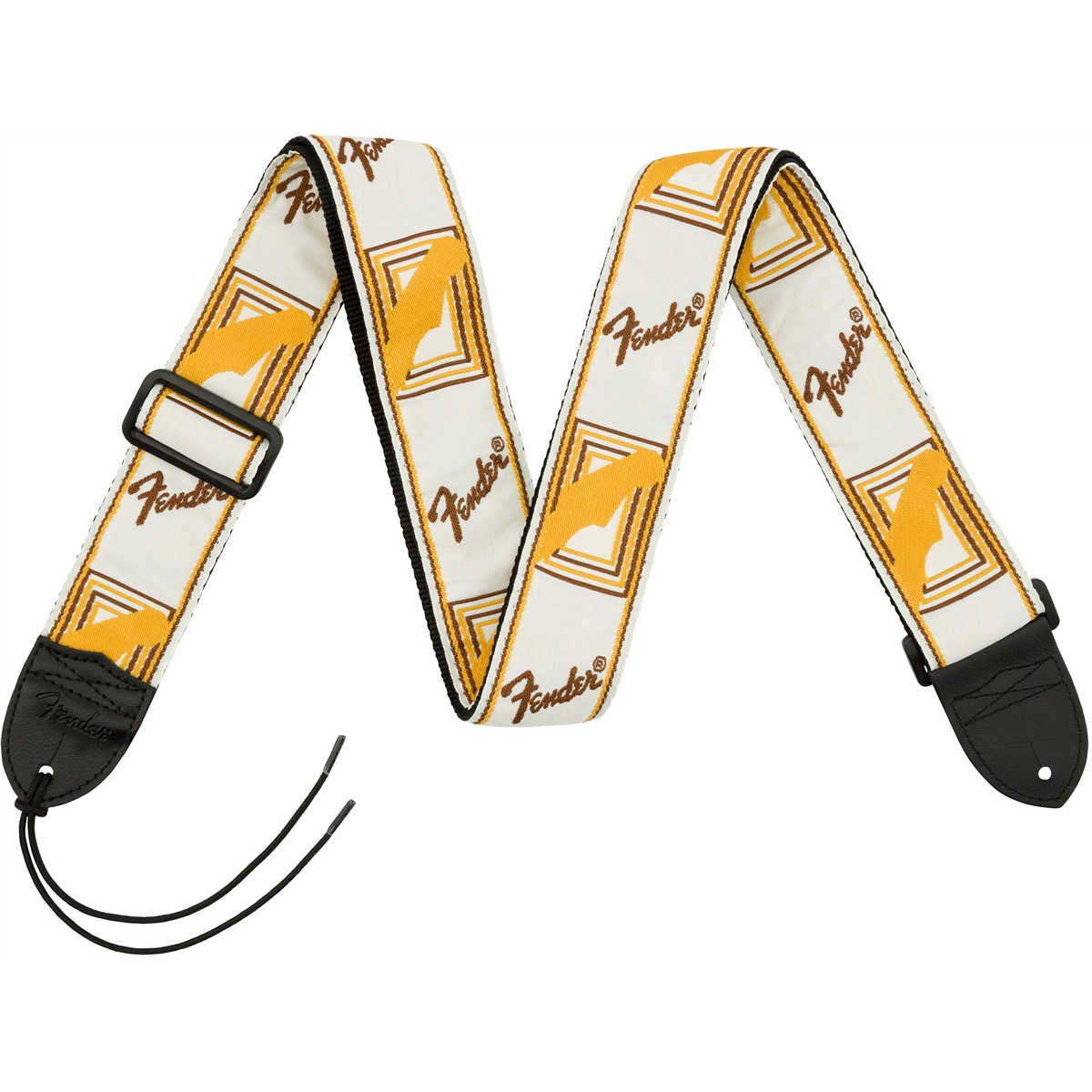 "Fender® 2"" Monogrammed Straps, White/Brown/Yellow"