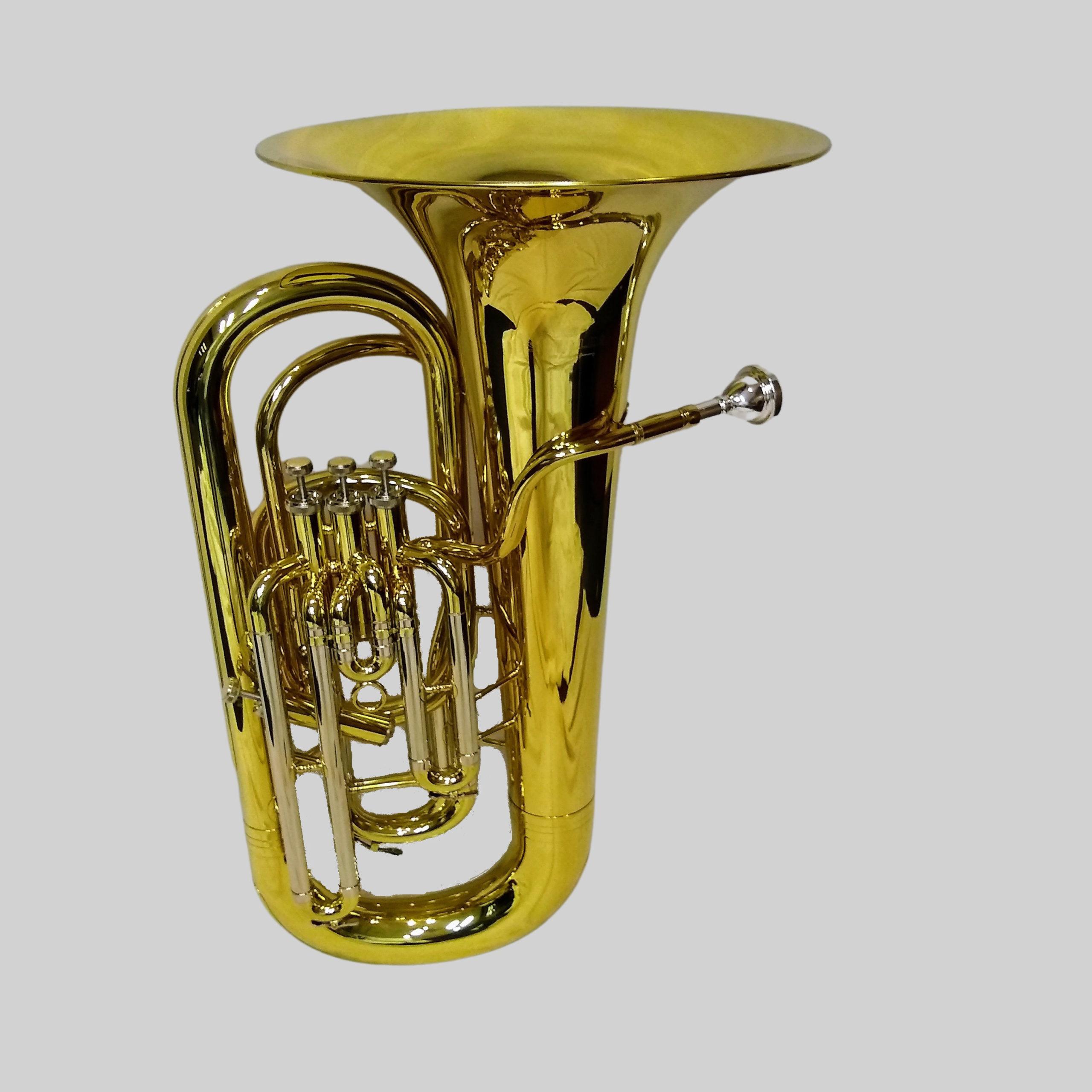 Schiller American Heritage 4 Valve Piston Sidekick FF Tuba - Gold Lacquer