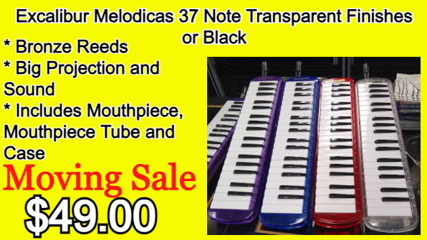 Excalibur Melodicas 37 Note Transparent Finishes or Black