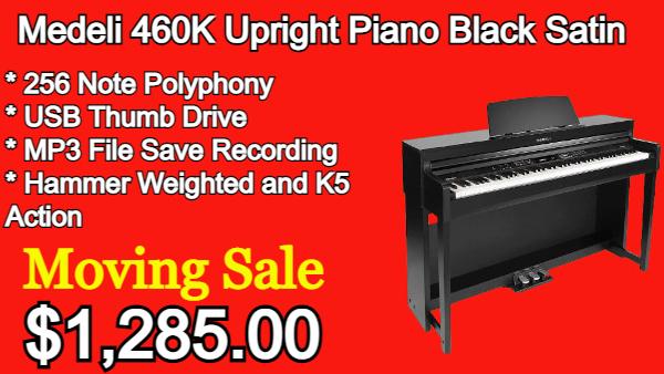 Medeli 460K Upright Piano Black Satin