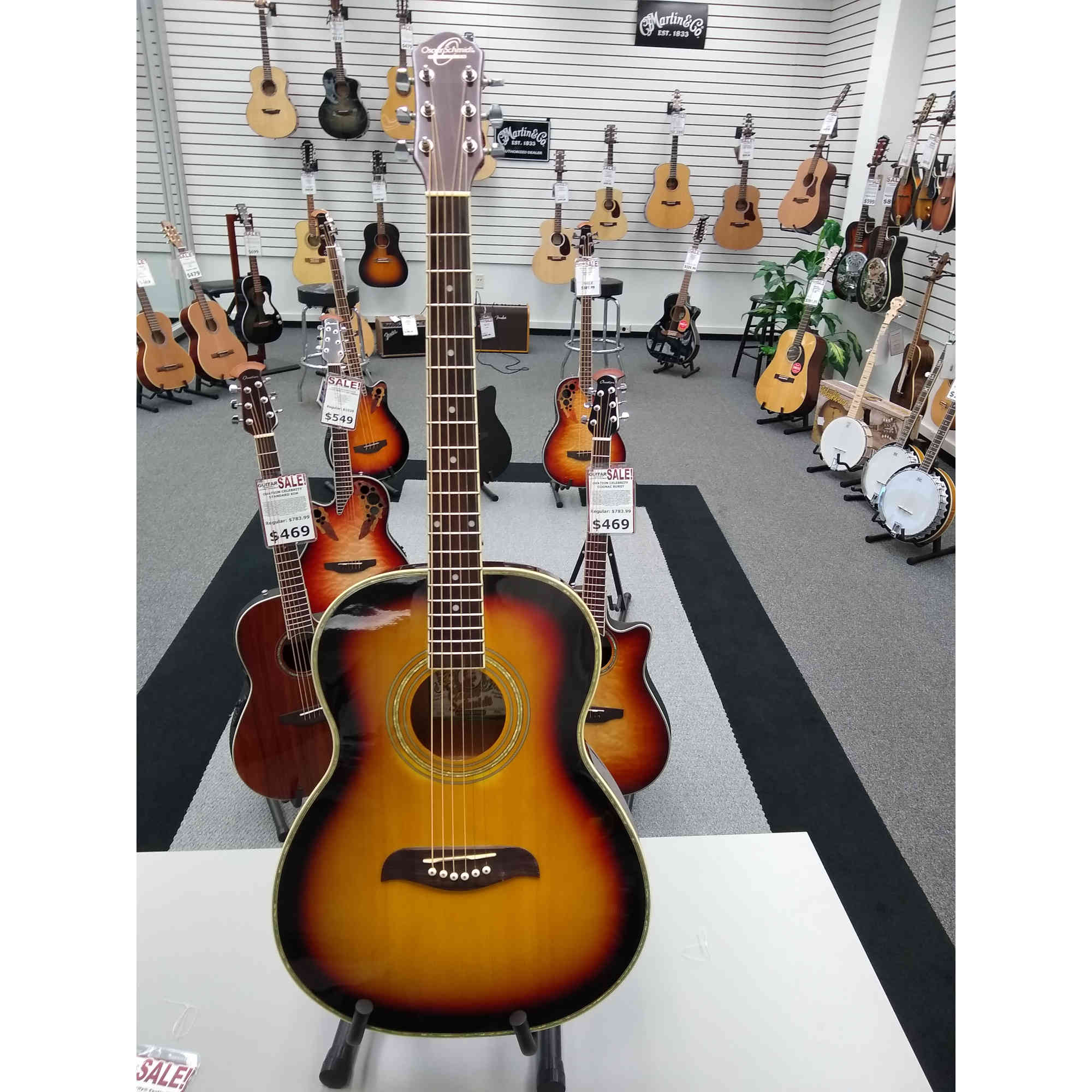 Oscar Schmidt Parlor Guitar Tobacco Sunburst Finish