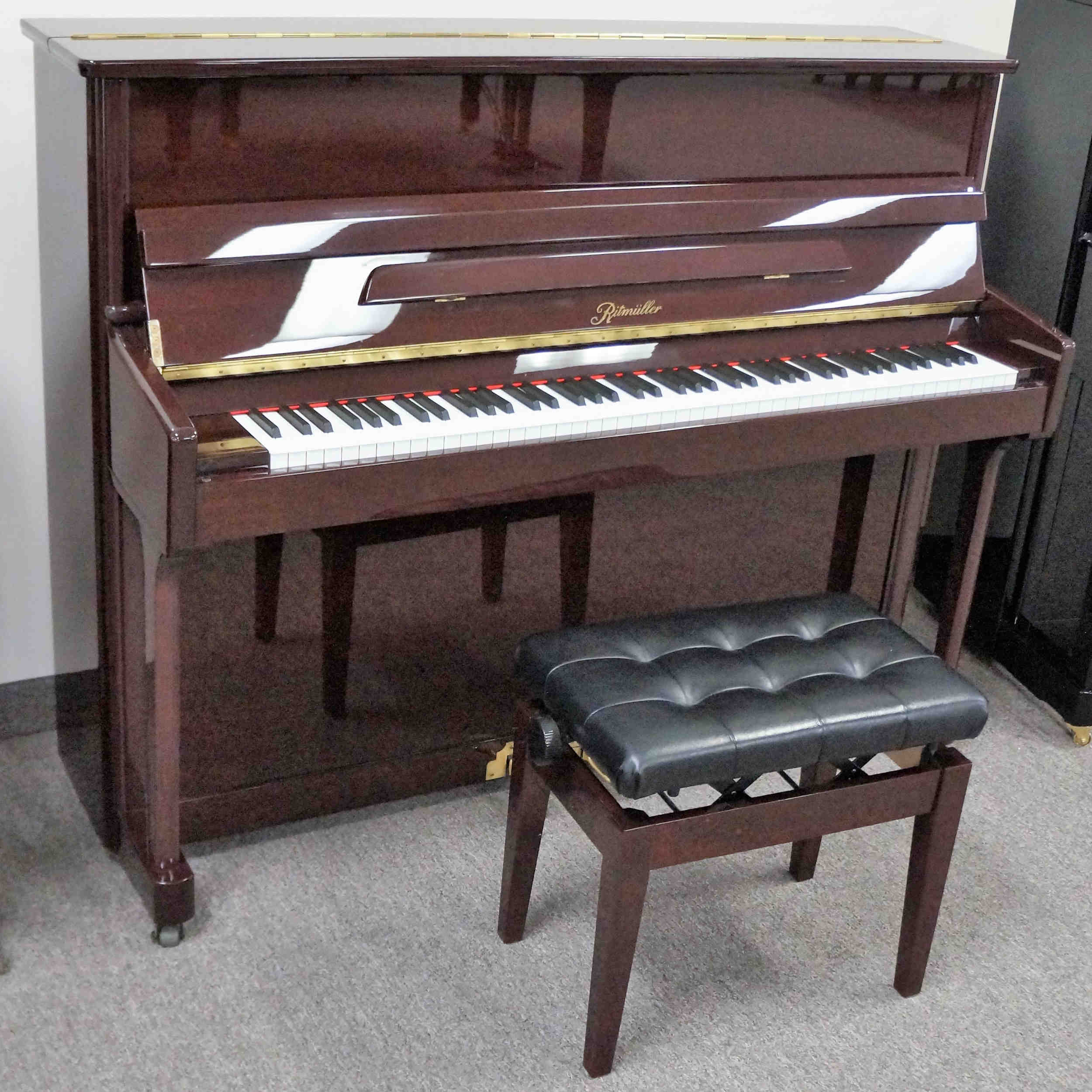 Ritmuller 121 Upright Piano Mahogany Polish