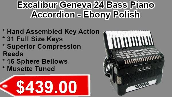 Excalibur Geneva 24 Bass Piano accordion ebony polish on sale