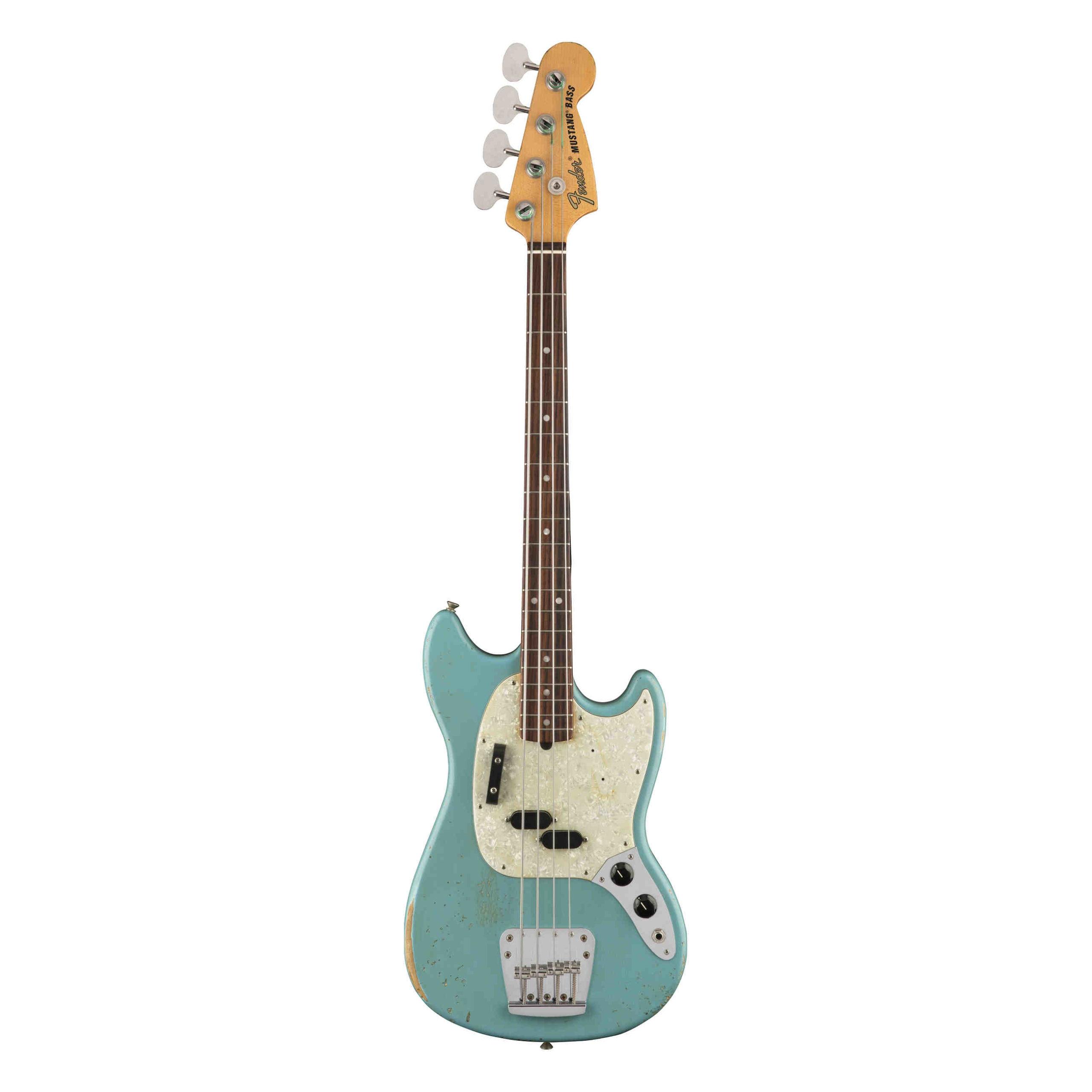 Fender JMJ Road Worn® Mustang® Bass, Rosewood Fingerboard, Faded Daphne Blue
