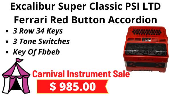 Excalibur Super Classic 3 Row Button Accordion Ferrari Red