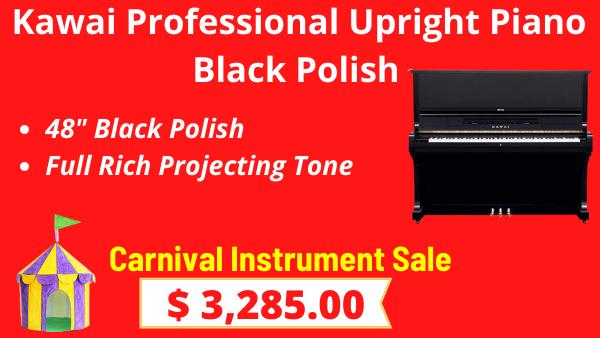 Kawai Professional Upright Piano Black Polish