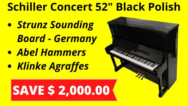 Schiller 52 Upright Piano Black Polish