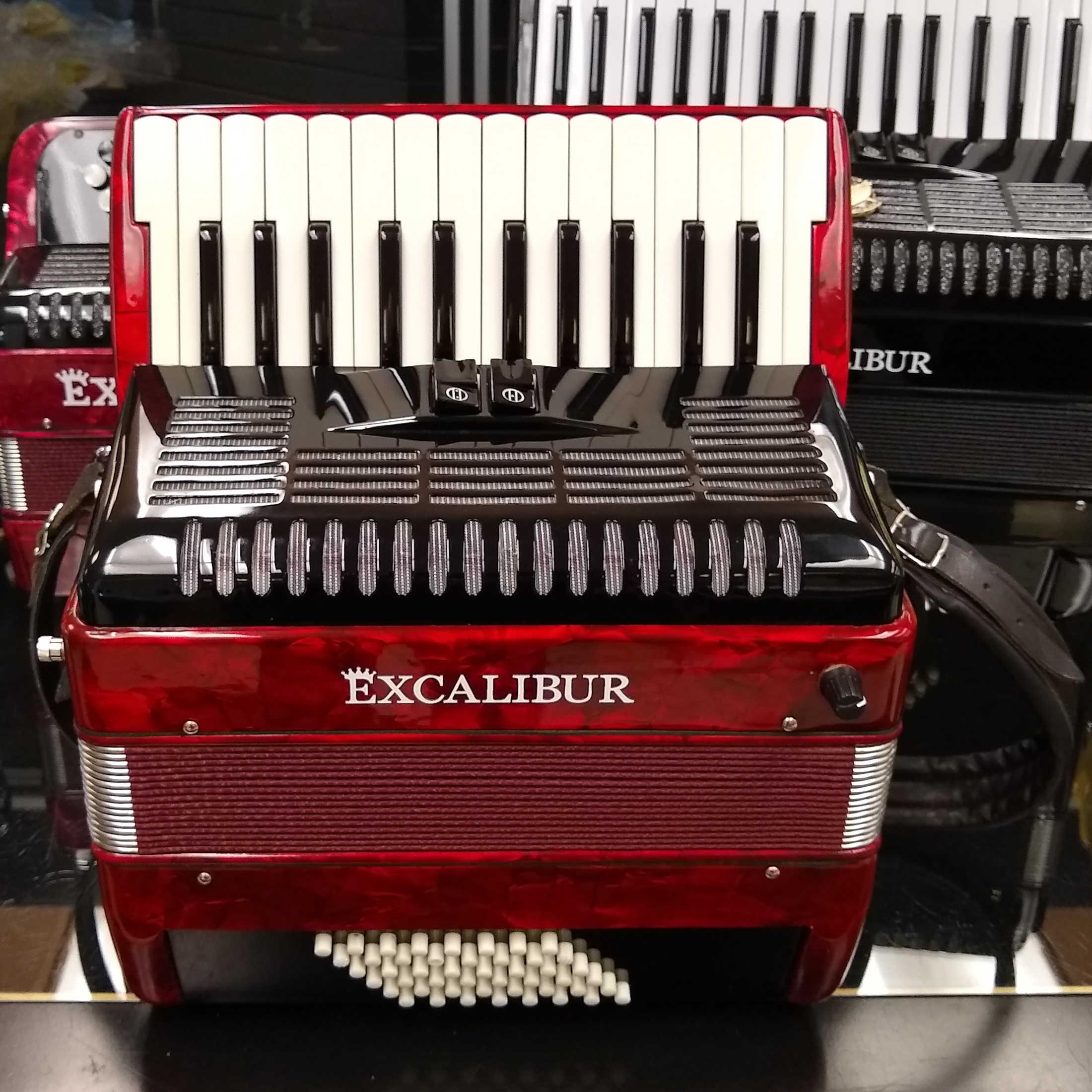 Excalibur 48 Bass Weltbestin Model Piano Accordion - Red Polish